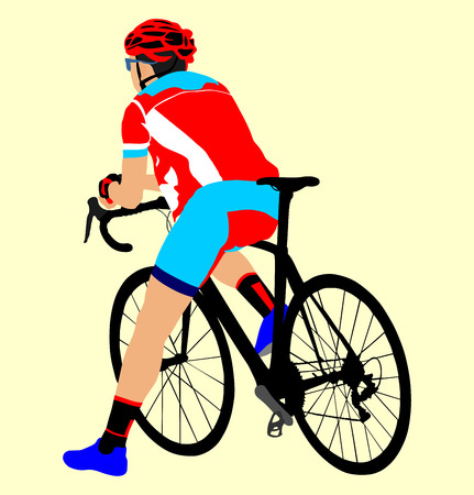 bicycler: A male bicyclist riding a bicycle isolated against background vector illustration. Cyclists resting on the start position. Illustration