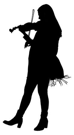 instrumentalist: Silhouette of young woman playing violin on white background, vector illustration.