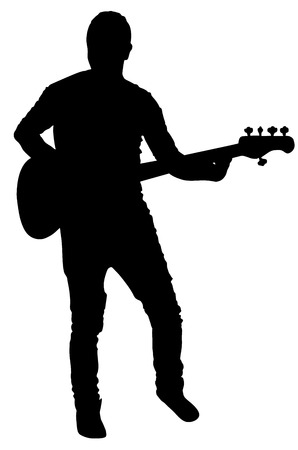 popular music: Guitarist vector silhouette illustration isolated on white background. Popular music super star on stage.