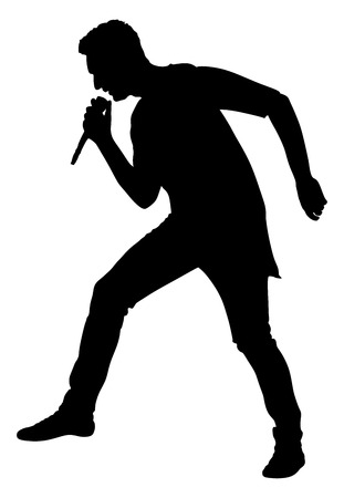 super star: Popular singer super star vector silhouette illustration isolated on white background. Attractive music artist on the stage. Singer man artist against public on concert. Illustration