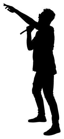super star: Popular singer super star vector silhouette illustration isolated on white background. Attractive music artist on the stage. Singer man artist against public on concert. Illustration