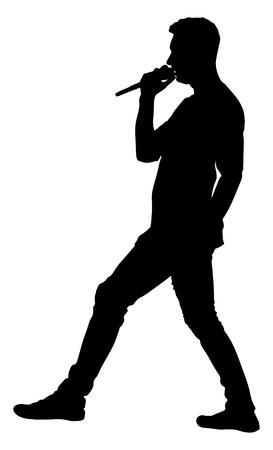 pop idol: Popular singer super star vector silhouette illustration isolated on white background. Attractive music artist on the stage. Singer man artist against public on concert. Illustration