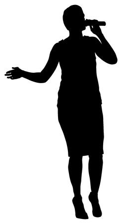 Popular singer super star vector silhouette illustration isolated on white background. Attractive music artist on the stage. Singer woman, girl artist against public on concert. Illustration