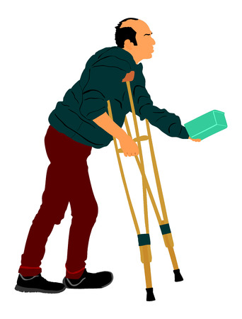 A homeless beggar is begging on a street vector illustration. Senior person begging for food or help. Disabled person on crutches begging for money.