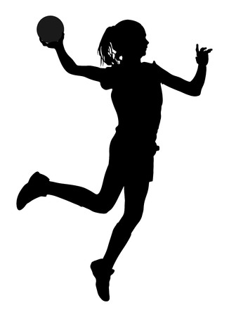 Handball player in action vector silhouette illustration isolated on white background. Woman handball player symbol. Handball girl jumping in the air.