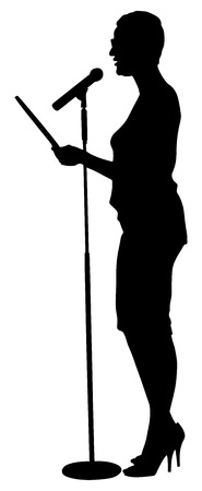 woman speaking: Show host woman speaking on the microphone vector silhouette illustration. Head announces present event. Announcement of the program. Illustration