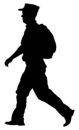 returning: Soldier returning Home, walking back to home vector silhouette illustration. (Memorial day, Veterans day, 4th of july, Independence day). Military father.