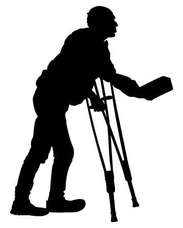 Een dakloze bedelaar bedelen op een straat vector silhouet illustratie. Senior persoon bedelen voor voedsel of hulp. Gehandicapte persoon op krukken bedelen om geld. Vector Illustratie