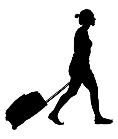 rolling bag: Tourist woman traveler walking and carrying his rolling suitcase, vector silhouette illustration isolated on white background. Illustration