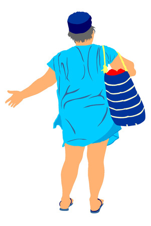 woman resting: Mature woman on the beach vector illustration. Senior lady waiting for bus, after sunbathing on the beach, back to the hotel. Tourist standing on the beach in swimwear vector. Active life. Skin care.