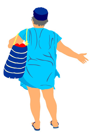 active life: Mature woman on the beach vector illustration. Senior lady waiting for bus, after sunbathing on the beach, back to the hotel. Tourist standing on the beach in swimwear vector. Active life. Skin care.