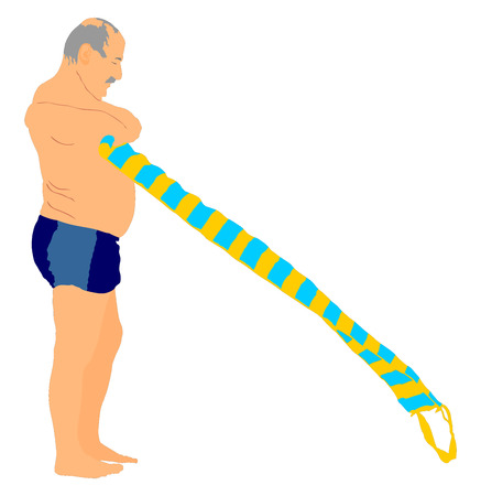 active life: Senior man on the beach in swimwear vector illustration. Old person on the beach. Active life.