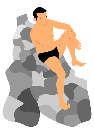 Young handsome man sunbathing on the rock by the sea, vector silhouette illustration.