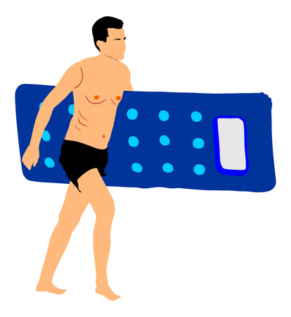 Young handsome man with air pool mattress walking on the beach, vector illustration. Man in swimwear. Sunbathing on the hot sunny summer day. Illustration