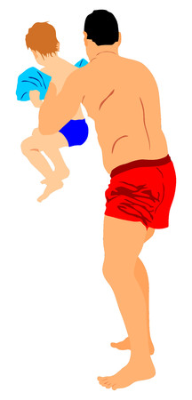 boy swim: Father and little son playing on the beach, vector illustration.