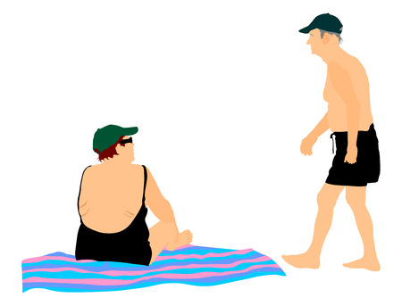 active life: Old senior couple in love spending time on the beach vector illustration. Sunbathing summer time enjoy. Active life grandmother and grandfather. Illustration