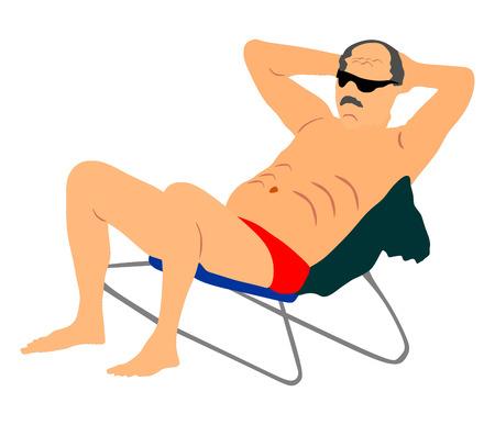 sunbathing: Retired old man on vacation sitting in beach chair, vector illustration. Senior on beach. Mature sunbathing. Healthy man enjoy in summer day.