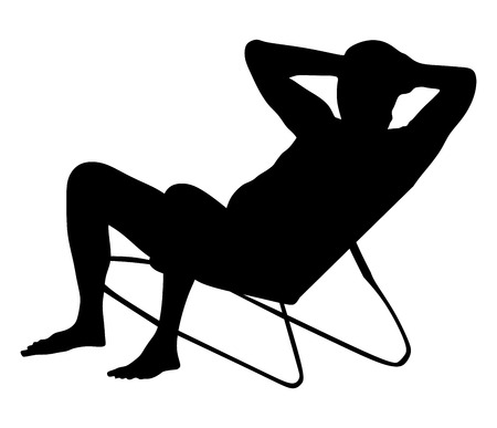 Retired old man on vacation sitting in beach chair, vector silhouette illustration. Senior on beach. Mature sunbathing. Healthy man enjoy in summer day. Illustration