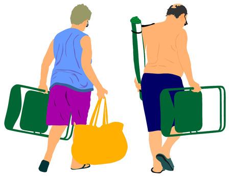 sunbathing: Senior couple on beach holiday vector illustration. Mature couple sunbathing.