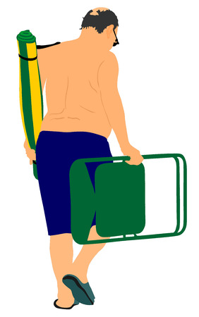 sunbathing: Senior man on the beach, vector illustration. Mature man walking on the beach with chair and rug. Sunbathing, health care concept.