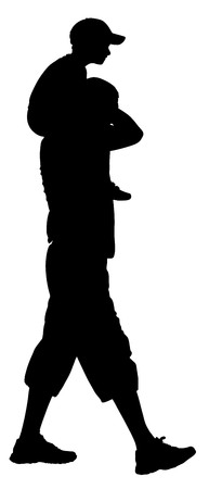 Father carrying his son on shoulders, vector silhouette illustration isolated on background.