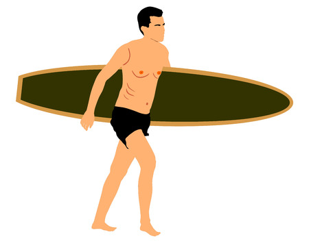 Handsome man walking with a surf board in his hands across the sea shore, vector illustration isolated on white background. Illustration