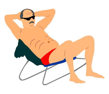 Retired old man on vacation sitting in beach chair, vector illustration. Senior on beach. Mature sunbathing. Healthy man enjoy in summer day.