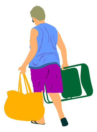 Senior woman walking on the beach with chair and bag vector illustration.