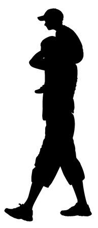 Père portant son fils sur les épaules, vecteur, silhouette, illustration isolé sur fond. Banque d'images - 66807047