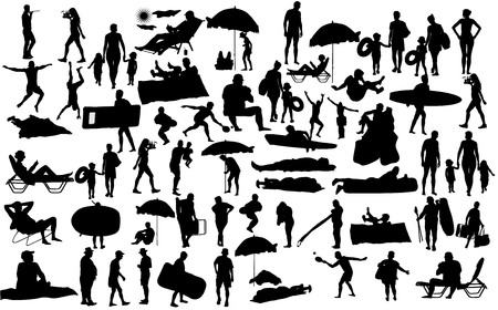 Sunny day on the beach vector silhouette over 50 people characters(boy,girl,man,woman,swimmer,parents, tourists, mother,father,) Water sports. Happy seniors active life. Skin care protection concept.