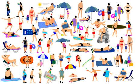Día soleado en la playa ilustración vectorial más de 50 personas caracteres (muchacho, chica, hombre, mujer, nadador, los padres, los turistas, madre, padre, hijo) Actividad en el mar. Mayores felices de la vida activa. concepto de protección de cuidado de la piel.
