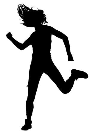 Estilo moderno bailarina silueta ilustración vectorial aislado sobre fondo blanco. Mujer ejecutante del ballet clásico. señora atractiva hip hop. bailarina rapero.