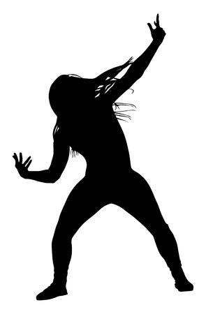 poses de modelos: Estilo moderno bailarina silueta ilustración vectorial aislado sobre fondo blanco. Mujer ejecutante del ballet clásico. señora atractiva hip hop. Gangsta rap. Vectores