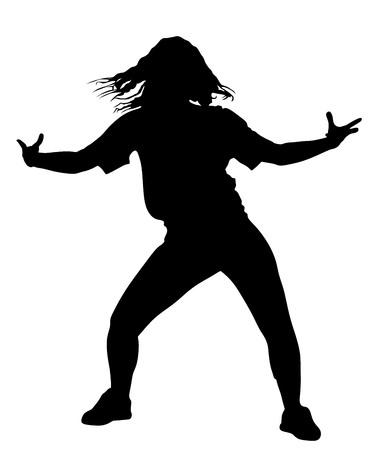 poses de modelos: Estilo moderno bailarina silueta ilustración vectorial aislado sobre fondo blanco. Mujer ejecutante del ballet clásico. señora atractiva hip hop. bailarina rapero.