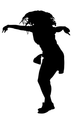 rnb: Modern style dancer vector silhouette illustration isolated on white background. Woman ballet performer. Sexy hip hop lady. Rapper dancer.