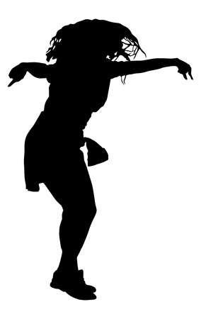 Modern style dancer vector silhouette illustration isolated on white background. Woman ballet performer. Sexy hip hop lady. Gangsta rap. Illustration