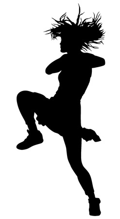 Modern style dancer vector silhouette illustration isolated on white background. Woman ballet performer. Sexy hip hop lady. Rapper dancer.