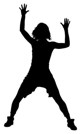 hip hop silhouette: Modern style dancer vector silhouette illustration isolated on white background. Woman ballet performer. Sexy hip hop lady. Rapper dancer.