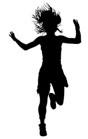 performer: Modern style dancer vector silhouette illustration isolated on white background. Woman ballet performer. Sexy hip hop lady. Rapper dancer.