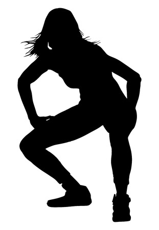 rnb: Modern style dancer vector silhouette illustration isolated on white background. Woman ballet performer.Gangsta rap.  Sexy hip hop lady.