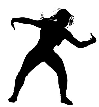 the performer: Modern style dancer vector silhouette illustration isolated on white background. Woman ballet performer. Sexy hip hop lady. Rapper dancer.