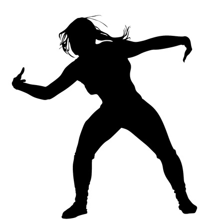 Modern style dancer vector silhouette illustration isolated on white background. Woman ballet performer.Gangsta rap.  Sexy hip hop lady.