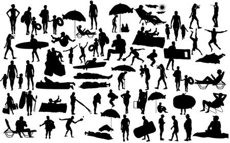 Sonnigen Tag am Strand Vektor-Silhouette über 50 Personen Zeichen (Junge, Mädchen, Mann, Frau, Schwimmer, Eltern, Touristen, Mutter, Vater,) Wassersport. Glücklich Senioren aktives Leben. Hautpflege-Schutzkonzept.
