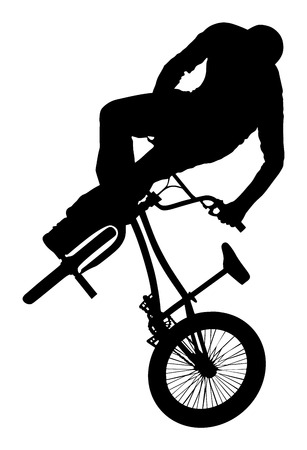 Bicycle stunts vector silhouette isolated on white background. Bike performans. exercising bmx acrobatic figure. Illustration