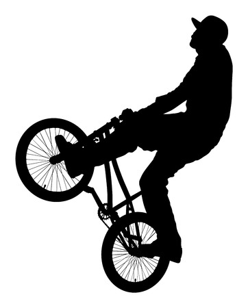 Bicycle stunts vector silhouette isolated on white background. Bike performans. exercising bmx acrobatic figure. Çizim