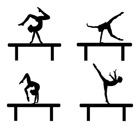 Ballet girl vector figure isolated on white background. Black silhouette illustration of gymnastic woman.