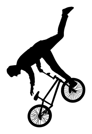 cycling helmet: Bicycle stunts vector silhouette isolated on white background. Bike performance. exercising bmx acrobatic figure.
