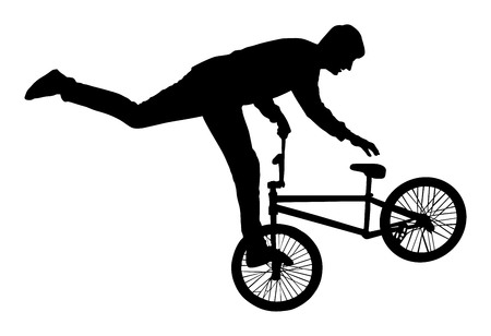 Bicycle stunts vector silhouette isolated on white background. Bike performans. exercising bmx acrobatic figure. Stok Fotoğraf - 66807058