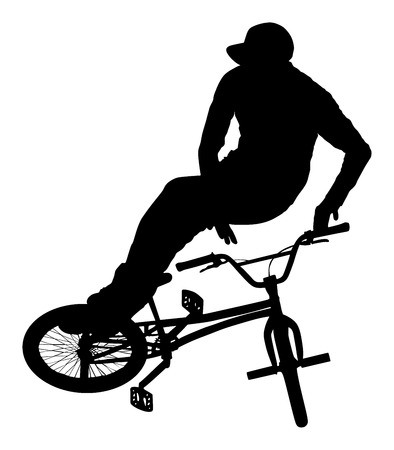 one wheel bike: Bicycle stunts vector silhouette isolated on white background. Bike performance. exercising bmx acrobatic figure.