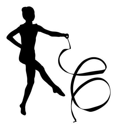 costume ball: Ballet girl vector figure isolated on white background. Black silhouette illustration of gymnastic woman.
